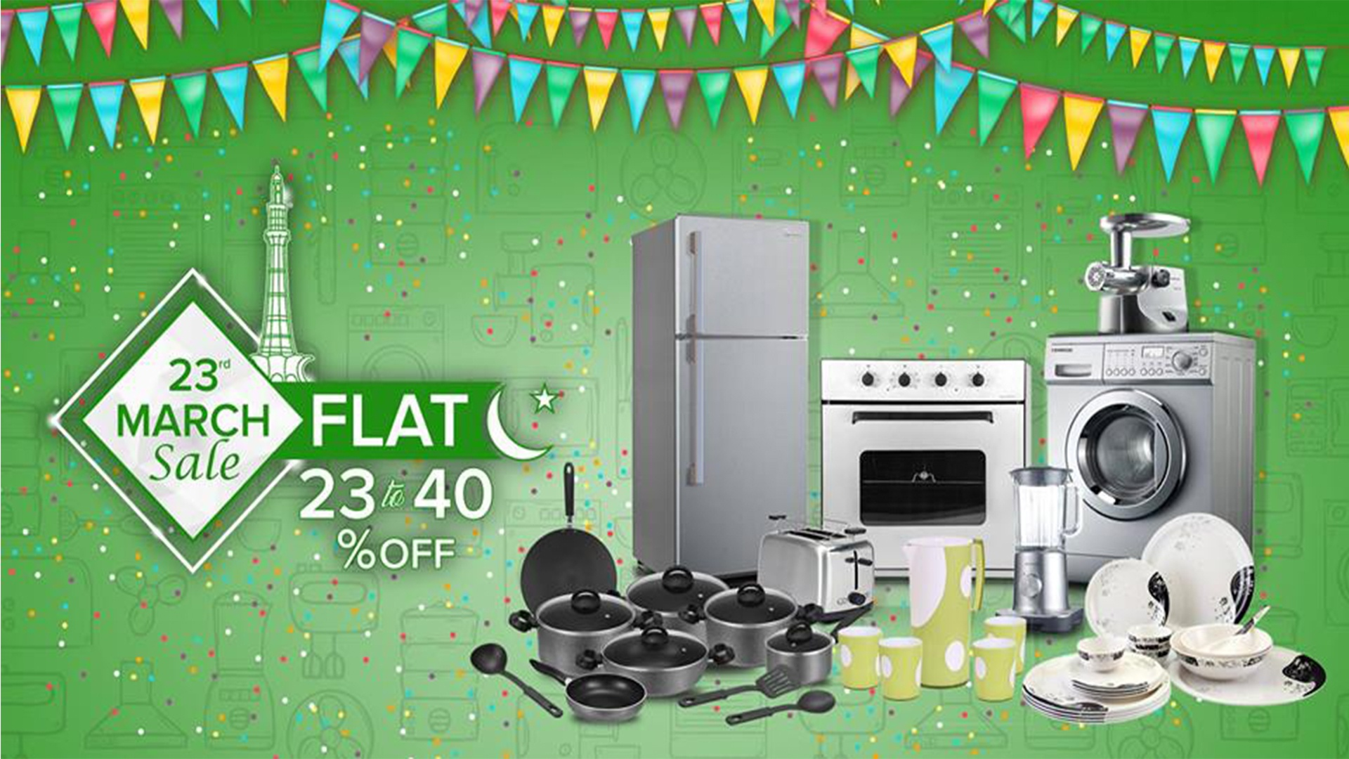 23rd March Sale- 23% to 40% OFF on Electronics & Crockery